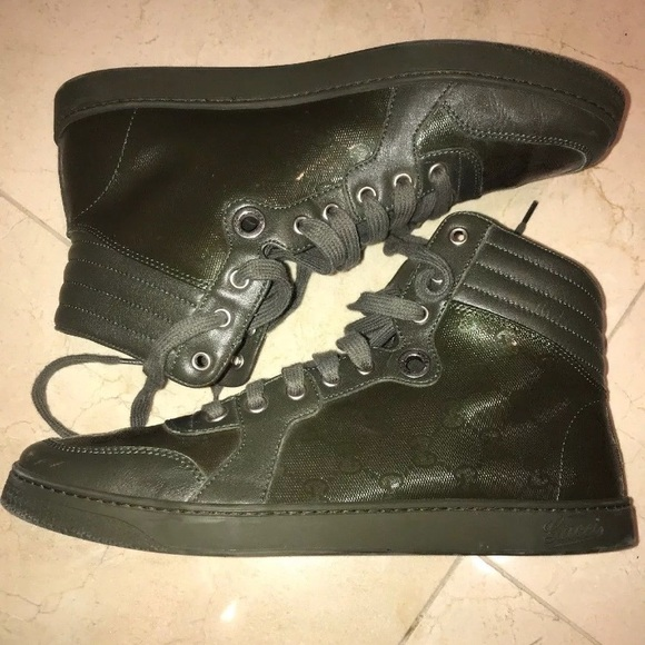 48ba20db18e Gucci Other - Gucci Olive Green High Top Sneakers GG Logo Sz 8.5